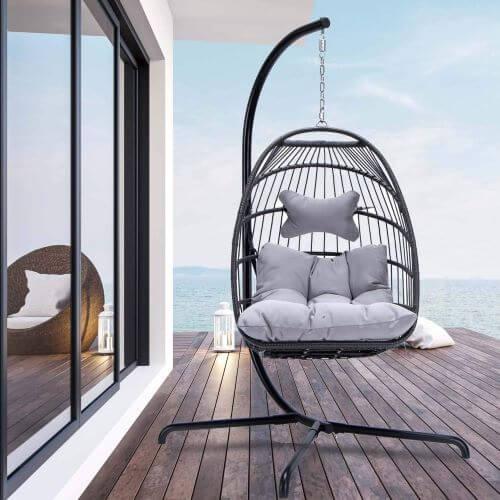 Indoor Outdoor Patio Wicker Hanging Chair Swing Hammock Egg Chairs